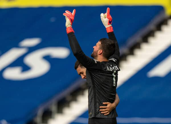 WEST BROMWICH, ENGLAND - Sunday, May 16, 2021: Liverpool's goalkeeper Alisson Becker celebrates after scoring the winning second goal with a head in injury time during the FA Premier League match between West Bromwich Albion FC and Liverpool FC at The Hawthorns. (Pic by David Rawcliffe/Propaganda)