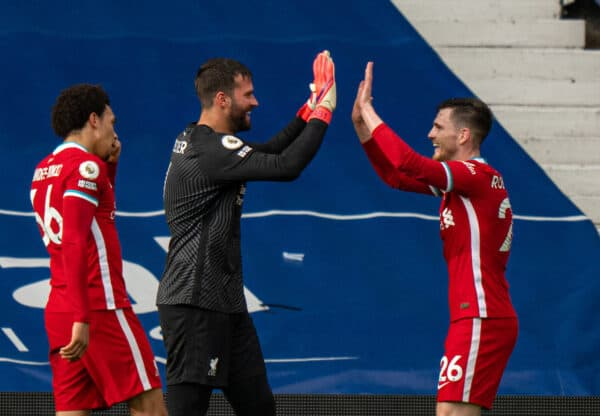 WEST BROMWICH, ENGLAND - Sunday, May 16, 2021: Liverpool's goalkeeper Alisson Becker (R) celebrates with team-mate Andy Robertson (R) after scoring the winning second goal with a head in injury time during the FA Premier League match between West Bromwich Albion FC and Liverpool FC at The Hawthorns. (Pic by David Rawcliffe/Propaganda)