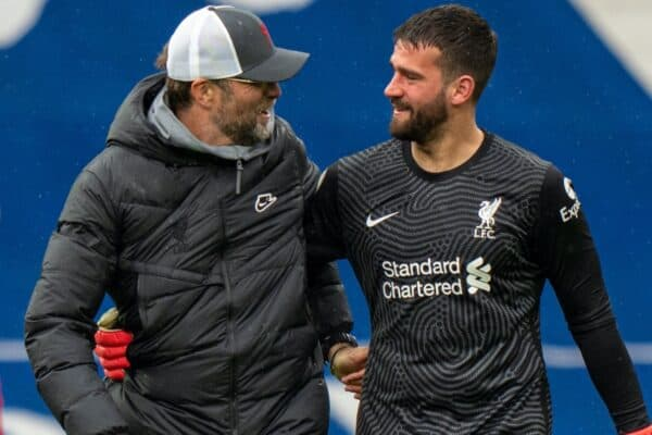 WEST BROMWICH, ENGLAND - Sunday, May 16, 2021: Liverpool's goalkeeper Alisson Becker (R) celebrates with manager Jürgen Klopp (L) after scoring the winning second goal with a head in injury time during the FA Premier League match between West Bromwich Albion FC and Liverpool FC at The Hawthorns. (Pic by David Rawcliffe/Propaganda)