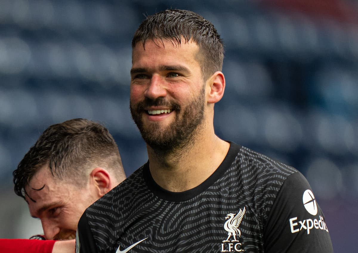 WEST BROMWICH, ENGLAND - Sunday, May 16, 2021: Liverpool's match-winning goal-scorer goalkeeper Alisson Becker walks off the pitch after his injury time headed goal sealed a 2-1 victory during the FA Premier League match between West Bromwich Albion FC and Liverpool FC at The Hawthorns. (Pic by David Rawcliffe/Propaganda)