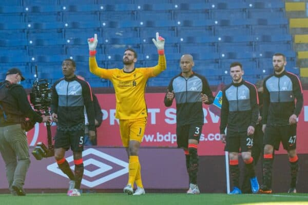 BURNLEY, ENGLAND - Wednesday, May 19, 2021: Liverpool's Georginio Wijnaldum and goalkeeper Alisson Becker lead their side out before the FA Premier League match between Burnley FC and Liverpool FC at Turf Moor. (Pic by David Rawcliffe/Propaganda)