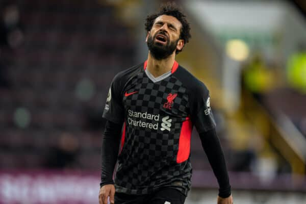BURNLEY, ENGLAND - Wednesday, May 19, 2021: Liverpool's Mohamed Salah looks dejected after missing a chance during the FA Premier League match between Burnley FC and Liverpool FC at Turf Moor. (Pic by David Rawcliffe/Propaganda)