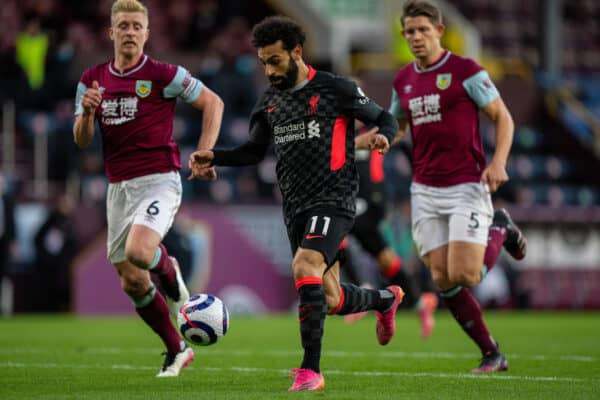 BURNLEY, ENGLAND - Wednesday, May 19, 2021: Liverpool's Mohamed Salah during the FA Premier League match between Burnley FC and Liverpool FC at Turf Moor. (Pic by David Rawcliffe/Propaganda)