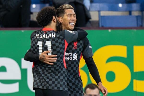 BURNLEY, ENGLAND - Wednesday, May 19, 2021: Liverpool's Roberto Firmino (R) celebrates with team-mate Mohamed Salah after scoring the first goal during the FA Premier League match between Burnley FC and Liverpool FC at Turf Moor. (Pic by David Rawcliffe/Propaganda)