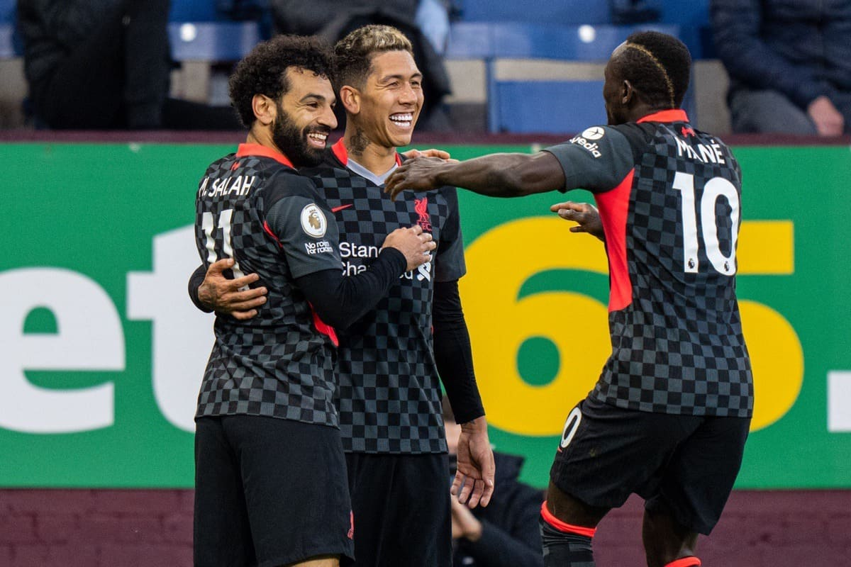 BURNLEY, ENGLAND - Wednesday, May 19, 2021: Liverpool's Roberto Firmino (C) celebrates with team-mates Mohamed Salah (L) and Sadio Mané (R) after scoring the first goal during the FA Premier League match between Burnley FC and Liverpool FC at Turf Moor. (Pic by David Rawcliffe/Propaganda)