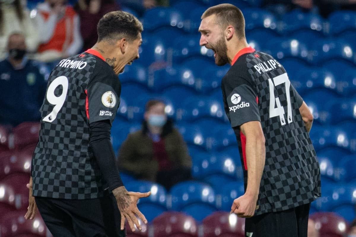 BURNLEY, ENGLAND - Wednesday, May 19, 2021: Liverpool's Nathaniel Phillips (R) celebrates after scoring the second goal during the FA Premier League match between Burnley FC and Liverpool FC at Turf Moor. (Pic by David Rawcliffe/Propaganda)