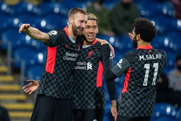 BURNLEY, ENGLAND - Wednesday, May 19, 2021: Liverpool's Nathaniel Phillips (L) celebrates after scoring the second goal with team-mates Roberto Firmino (C) and Mohamed Salah (R) during the FA Premier League match between Burnley FC and Liverpool FC at Turf Moor. (Pic by David Rawcliffe/Propaganda)