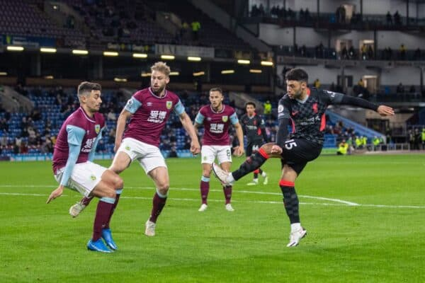 BURNLEY, ENGLAND - Wednesday, May 19, 2021: Liverpool's Alex Oxlade-Chamberlain scores the third goal during the FA Premier League match between Burnley FC and Liverpool FC at Turf Moor. (Pic by David Rawcliffe/Propaganda)