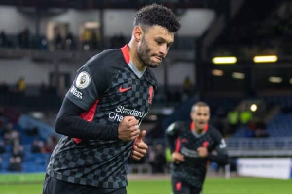 BURNLEY, ENGLAND - Wednesday, May 19, 2021: Liverpool's Alex Oxlade-Chamberlain celebrates after scoring the third goal during the FA Premier League match between Burnley FC and Liverpool FC at Turf Moor. (Pic by David Rawcliffe/Propaganda)
