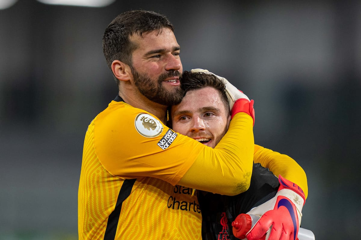 BURNLEY, ENGLAND - Wednesday, May 19, 2021: Liverpool's goalkeeper Alisson Becker (L) and Andy Robertson celebrate after the FA Premier League match between Burnley FC and Liverpool FC at Turf Moor. Liverpool won 3-0. (Pic by David Rawcliffe/Propaganda)