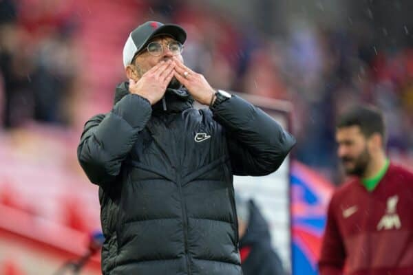 LIVERPOOL, ENGLAND - Sunday, May 23, 2021: Liverpool's manager Jürgen Klopp blows a kiss to the supporters after the final FA Premier League match between Liverpool FC and Crystal Palace FC at Anfield. (Pic by David Rawcliffe/Propaganda)