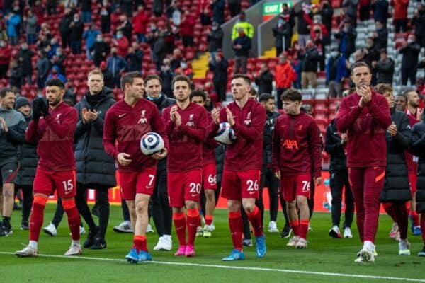 LIVERPOOL, ENGLAND - Sunday, May 23, 2021: Liverpool players on a lap of honour after the final FA Premier League match between Liverpool FC and Crystal Palace FC at Anfield. (Pic by David Rawcliffe/Propaganda)