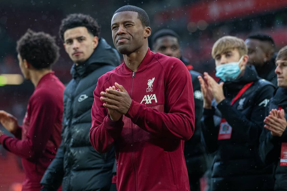 LIVERPOOL, ENGLAND - Sunday, May 23, 2021: Liverpool Georginio Wijnaldum on a lap of honour after the final FA Premier League match between Liverpool FC and Crystal Palace FC at Anfield. (Pic by David Rawcliffe/Propaganda)