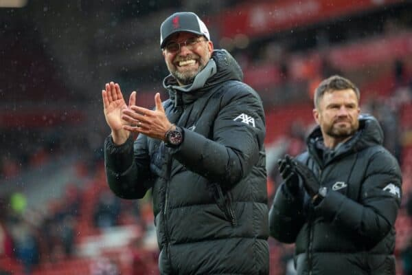 LIVERPOOL, ENGLAND - Sunday, May 23, 2021: Liverpool manager Jürgen Klopp on a lap of honour after the final FA Premier League match between Liverpool FC and Crystal Palace FC at Anfield. (Pic by David Rawcliffe/Propaganda)