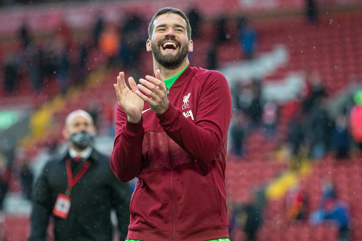LIVERPOOL, ENGLAND - Sunday, May 23, 2021: Liverpool's goalkeeper Alisson Becker on a lap of honour after the final FA Premier League match between Liverpool FC and Crystal Palace FC at Anfield. (Pic by David Rawcliffe/Propaganda)