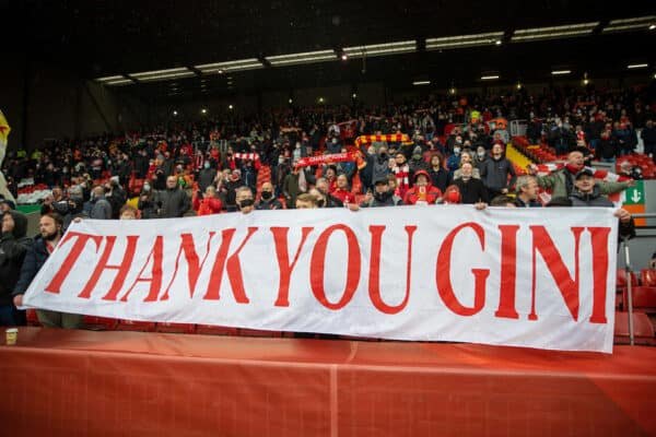 """LIVERPOOL, ENGLAND - Sunday, May 23, 2021: Liverpool supporters' banner """"Thank you Gini [Georginio Wijnaldum]"""" during the final FA Premier League match between Liverpool FC and Crystal Palace FC at Anfield. (Pic by David Rawcliffe/Propaganda)"""