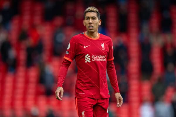 LIVERPOOL, ENGLAND - Sunday, May 23, 2021: Liverpool's Roberto Firmino during the final FA Premier League match between Liverpool FC and Crystal Palace FC at Anfield. (Pic by David Rawcliffe/Propaganda)