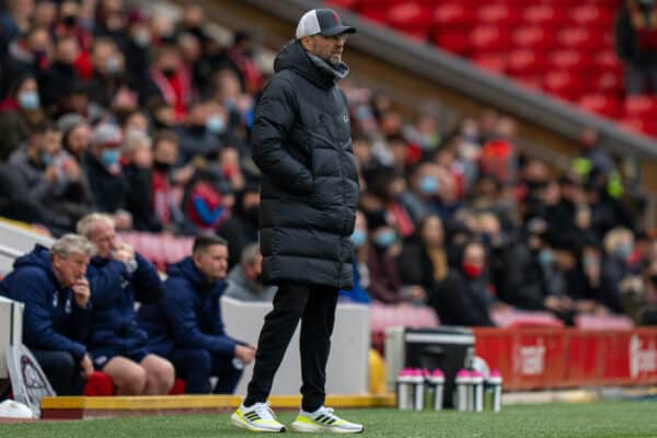 LIVERPOOL, ENGLAND - Sunday, May 23, 2021: Liverpool's manager Jürgen Klopp during the final FA Premier League match between Liverpool FC and Crystal Palace FC at Anfield. (Pic by David Rawcliffe/Propaganda)