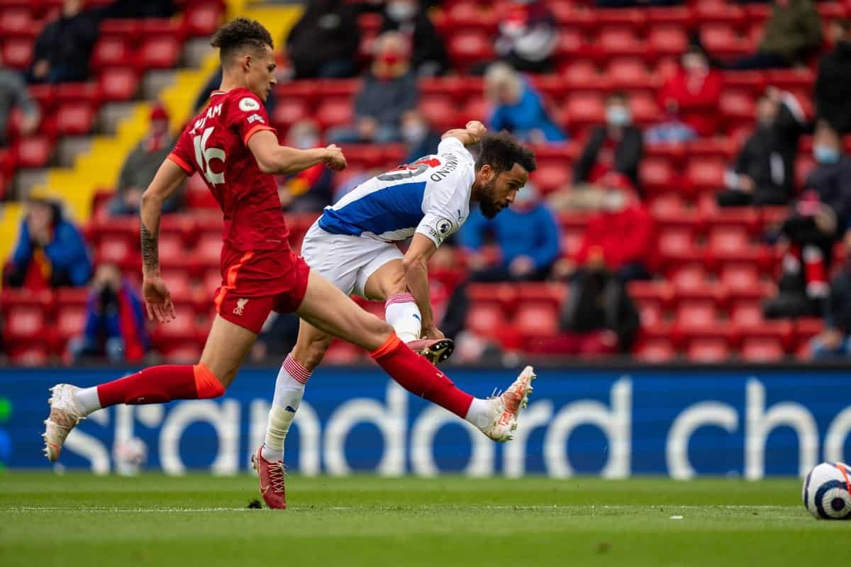 LIVERPOOL, ENGLAND - Sunday, May 23, 2021: Crystal Palace's Andros Townsend shoots during the final FA Premier League match between Liverpool FC and Crystal Palace FC at Anfield. (Pic by David Rawcliffe/Propaganda)
