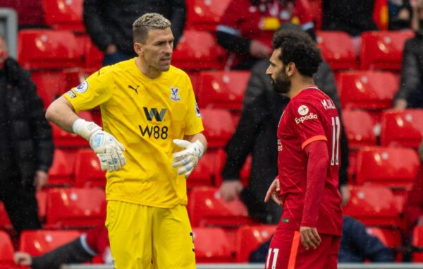LIVERPOOL, ENGLAND - Sunday, May 23, 2021: Crystal Palace's goalkeeper Vicente Guaita (L) and Liverpool's Mohamed Salah during the final FA Premier League match between Liverpool FC and Crystal Palace FC at Anfield. (Pic by David Rawcliffe/Propaganda)