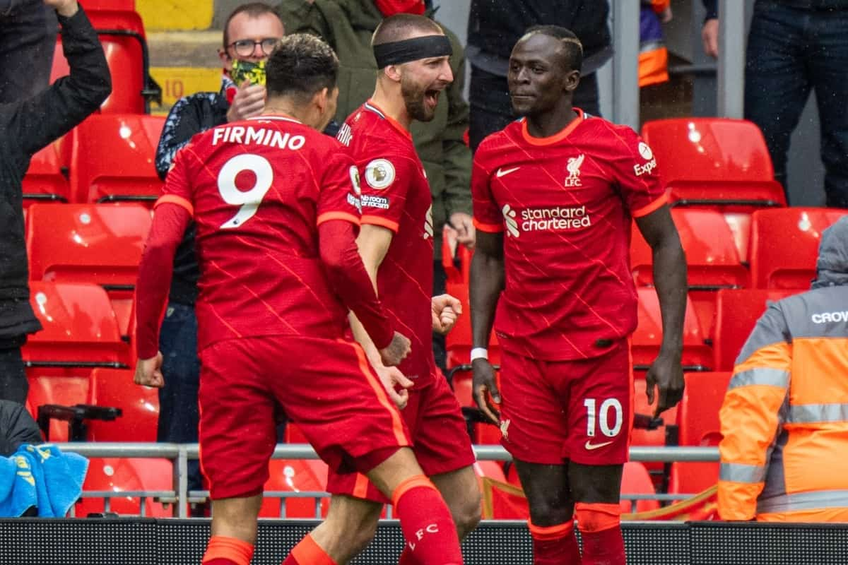 LIVERPOOL, ENGLAND - Sunday, May 23, 2021: Liverpool's Sadio Mané celebrates after scoring the first goal during the final FA Premier League match between Liverpool FC and Crystal Palace FC at Anfield. (Pic by David Rawcliffe/Propaganda)