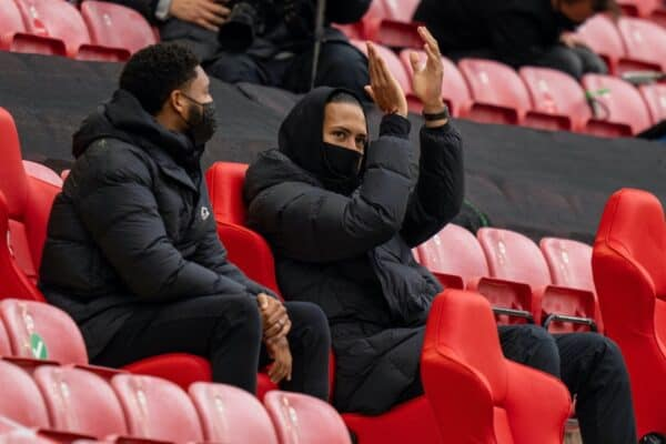 LIVERPOOL, ENGLAND - Sunday, May 23, 2021: Liverpool's injured Virgil van Dijk during the final FA Premier League match between Liverpool FC and Crystal Palace FC at Anfield. (Pic by David Rawcliffe/Propaganda)