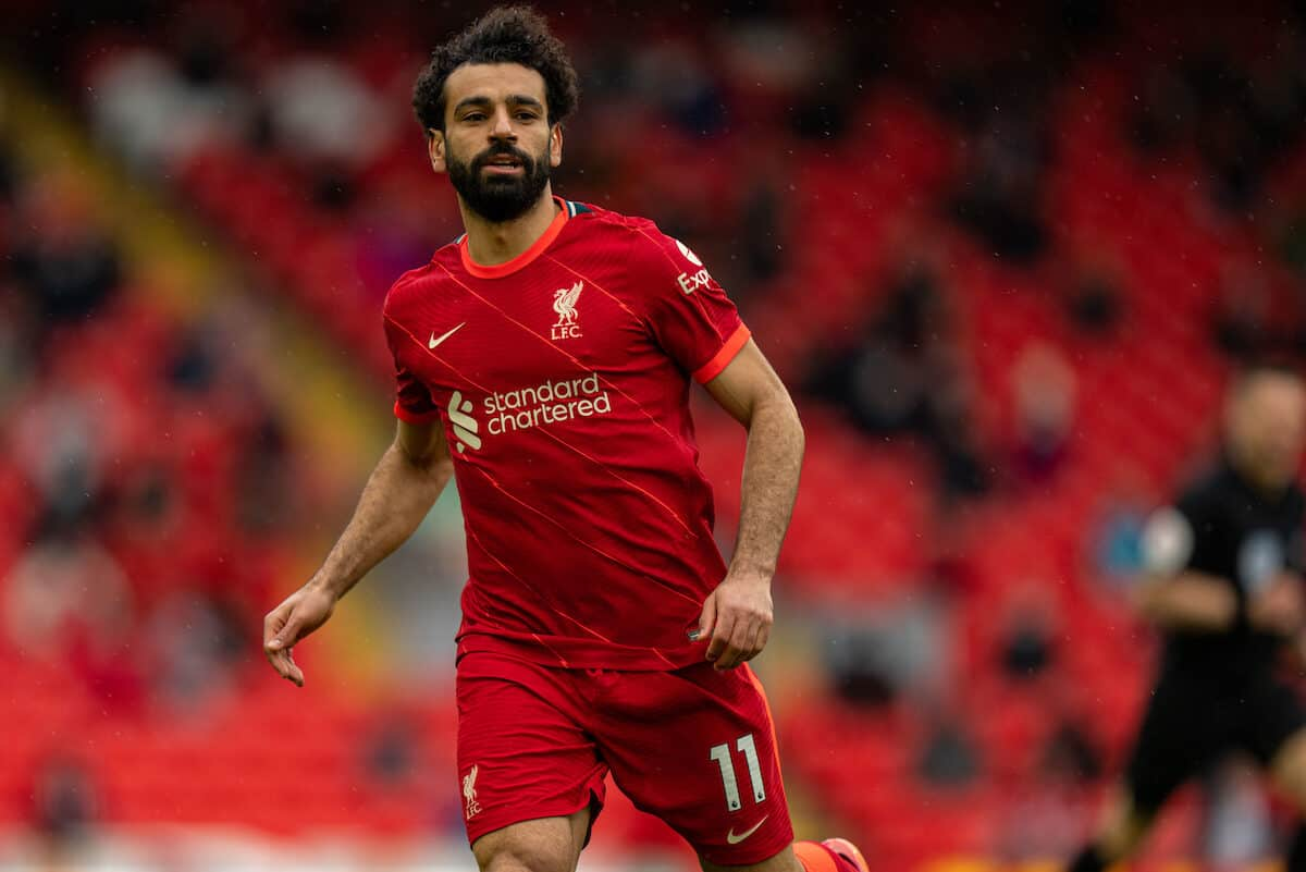 LIVERPOOL, ENGLAND - Sunday, May 23, 2021: Liverpool's Mohamed Salah during the final FA Premier League match between Liverpool FC and Crystal Palace FC at Anfield. (Pic by David Rawcliffe/Propaganda)