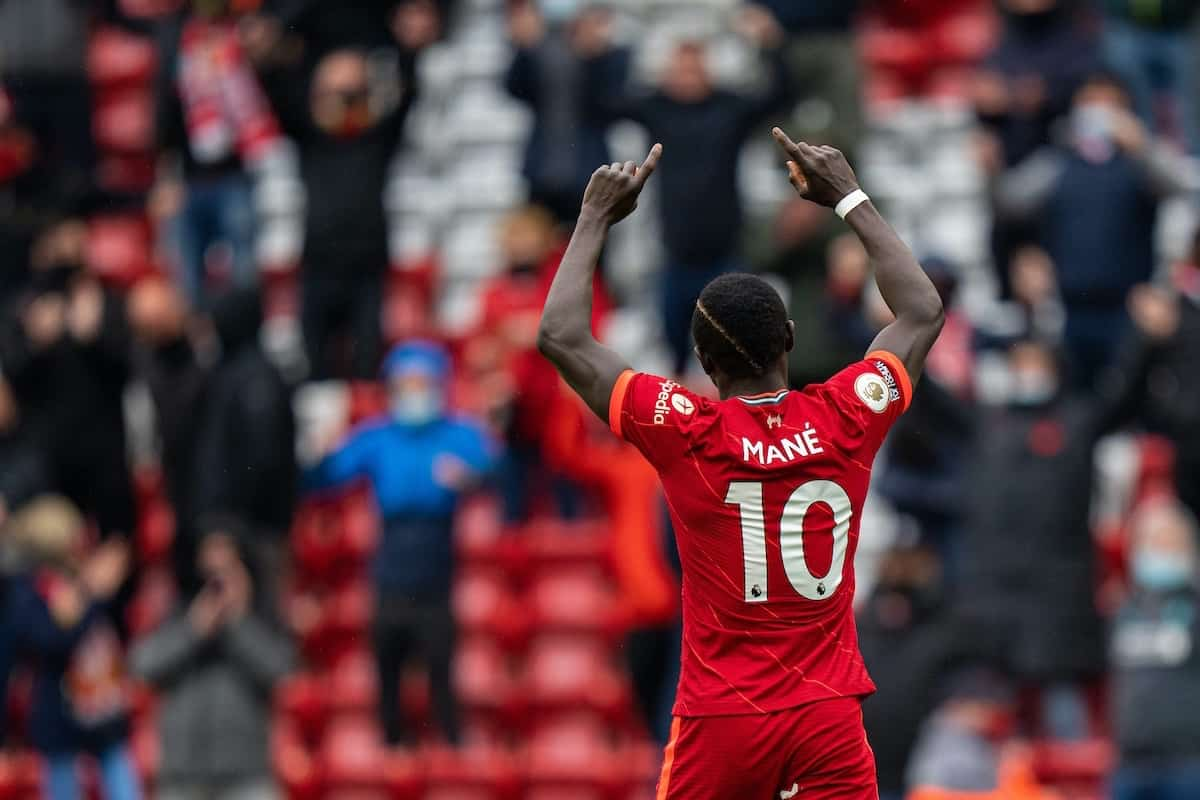 LIVERPOOL, ENGLAND - Sunday, May 23, 2021: Liverpool's Sadio Mané celebrates after scoring the second goal during the final FA Premier League match between Liverpool FC and Crystal Palace FC at Anfield. (Pic by David Rawcliffe/Propaganda)