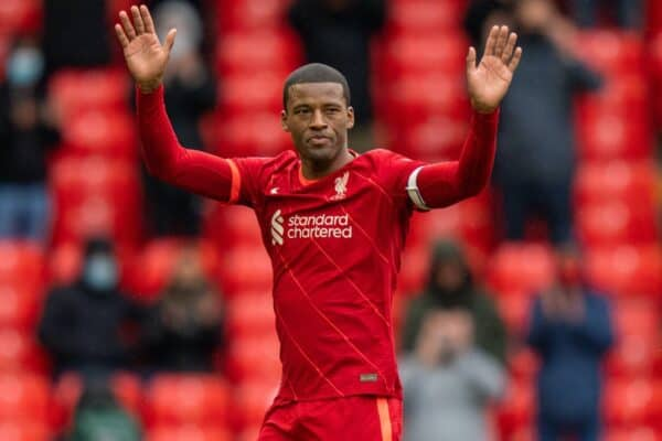 LIVERPOOL, ENGLAND - Sunday, May 23, 2021: Liverpool's Georginio Wijnaldum waves to the crowd as he is substituted during the final FA Premier League match between Liverpool FC and Crystal Palace FC at Anfield. (Pic by David Rawcliffe/Propaganda)