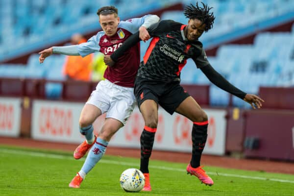 BIRMINGHAM, ENGLAND - Monday, May 24, 2021: Aston Villa's Louie Barry (L) and Liverpool's James Balagizi (R) during the FA Youth Cup Final match between Aston Villa FC Under-18's and Liverpool FC Under-18's at Villa Park. (Pic by David Rawcliffe/Propaganda)