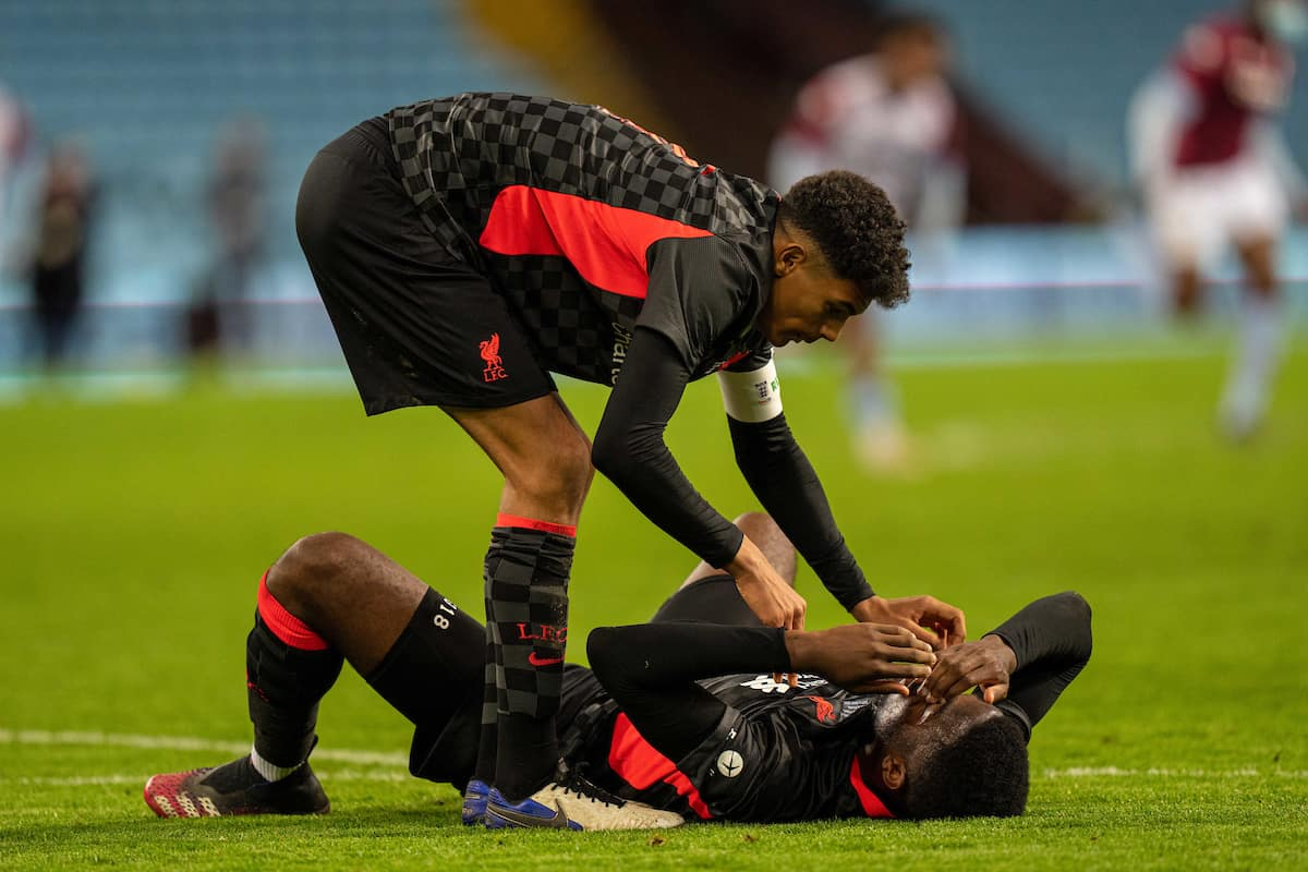 BIRMINGHAM, ENGLAND - Monday, May 24, 2021: Liverpool's captain Jarell Quansah (L) consoles Billy Koumetio at the final whistle during the FA Youth Cup Final match between Aston Villa FC Under-18's and Liverpool FC Under-18's at Villa Park. Aston Villa won 2-0. (Pic by David Rawcliffe/Propaganda)