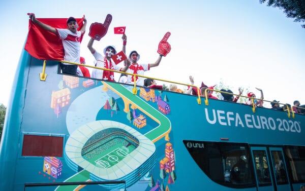 BAKU, AZERBAIJAN - Wednesday, June 9, 2021: A parade of nationals through the streets of Baku during the UEFA Euro 2020 tournament. (Pic by David Rawcliffe/Propaganda)