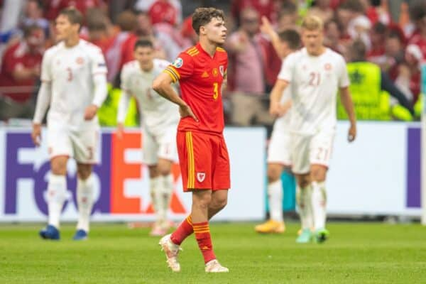 AMSTERDAM, THE NETHERLANDS - Saturday, June 26, 2021: Wales' Neco Williams looks dejected as Denmark celebrate the fourth goal during the UEFA Euro 2020 Round of 16 match between Wales and Denmark at the Amsterdam Arena. (Photo by David Rawcliffe/Propaganda)
