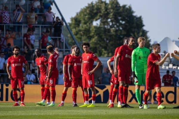 GRÖDIG, AUSTRIA - Friday, July 23, 2021: Liverpool players line-up before a pre-season friendly match between Liverpool FC and FSV Mainz 05 at the Greisbergers Betten-Arena. (Pic by Jürgen Faichter/Propaganda)