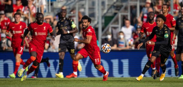 GRÖDIG, AUSTRIA - Friday, July 23, 2021: Liverpool's Naby Keita (L) and Mohamed Salah during a pre-season friendly match between Liverpool FC and FSV Mainz 05 at the Greisbergers Betten-Arena. (Pic by Jürgen Faichter/Propaganda)