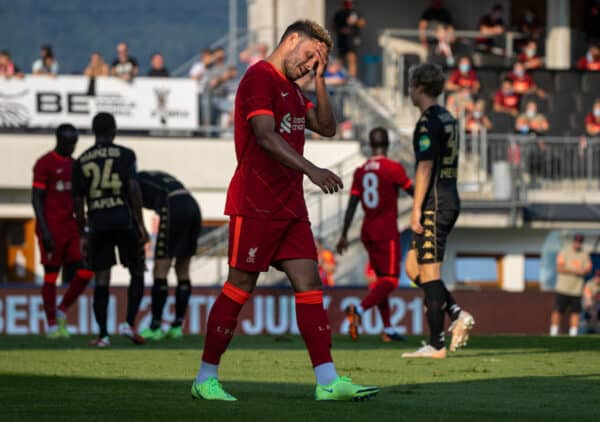 GRÖDIG, AUSTRIA - Friday 23 July 2021: Liverpool's Alex Oxlade-Chamberlain looks dejected after missing a chance in a friendly match between Liverpool FC and FSV Mainz 05 in the Greisbergers Betten-Arena.  (Image by Jürgen Faichter / Propaganda)