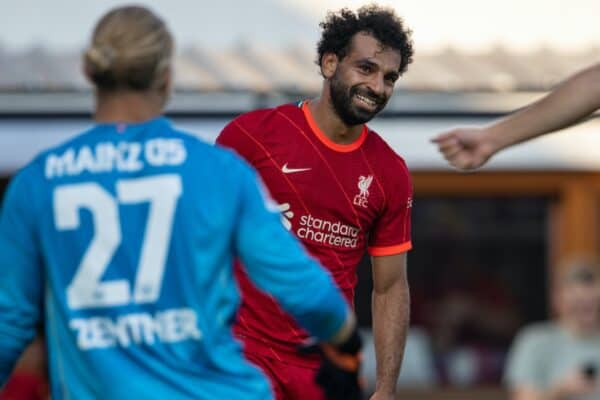 GRÖDIG, AUSTRIA - Friday, July 23, 2021: Liverpool's Mohamed Salah looks dejected after missing a chance during a pre-season friendly match between Liverpool FC and FSV Mainz 05 at the Greisbergers Betten-Arena. (Pic by Jürgen Faichter/Propaganda)