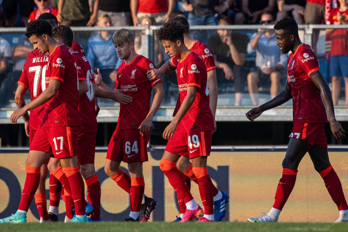 GRÖDIG, AUSTRIA - Friday, July 23, 2021: Liverpool players celebrate after an own-goal gave them a 1-0 victory during a pre-season friendly match between Liverpool FC and FSV Mainz 05 at the Greisbergers Betten-Arena. (Pic by Jürgen Faichter/Propaganda)
