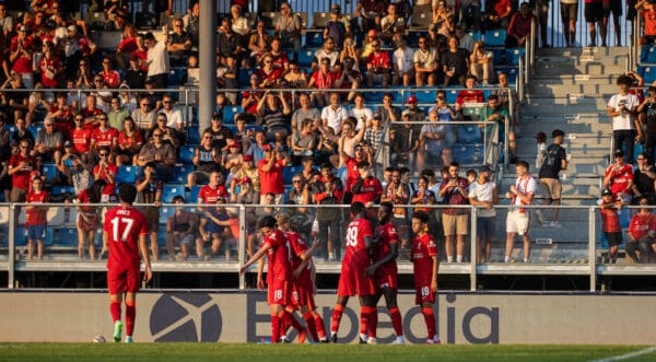 GRÖDIG, AUSTRIA - Friday, July 23, 2021: Liverpool's Owen Beck is congratulated by team-mates after crossing the ball and forcing an own goal from FSV Mainz 05 during a pre-season friendly match between Liverpool FC and FSV Mainz 05 at the Greisbergers Betten-Arena. (Pic by Jürgen Faichter/Propaganda)