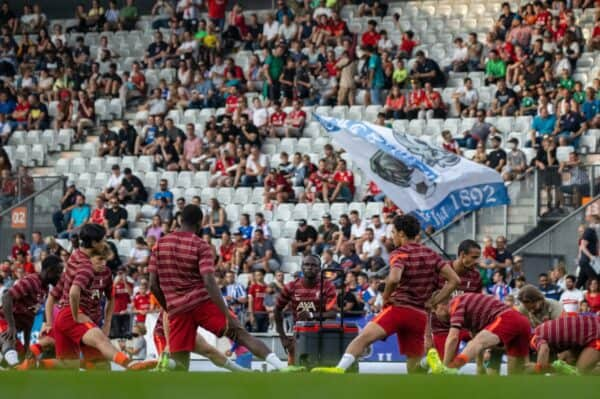 INNSBRUCK, AUSTRIA - Thursday, July 29, 2021: A general view during the pre-match warm-up before a pre-season friendly match between Liverpool FC and Hertha BSC at the Tivoli Stadion. (Pic by Jürgen Faichter/Propaganda)
