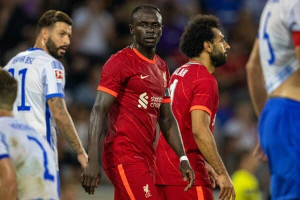 INNSBRUCK, AUSTRIA - Thursday, July 29, 2021: Liverpool's Sadio Mané celebrates after scoring the his side's first goal during a pre-season friendly match between Liverpool FC and Hertha BSC at the Tivoli Stadion. (Pic by Jürgen Faichter/Propaganda)