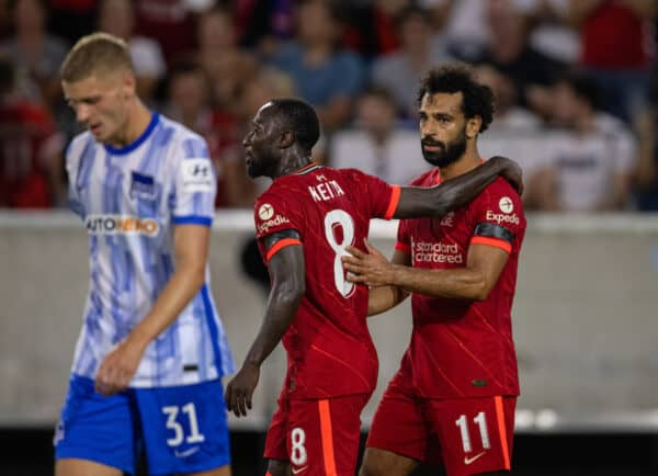 INNSBRUCK, AUSTRIA - Thursday, July 29, 2021: Liverpool's Mohamed Salah (R) celebrates his side's second goal with team-mate Naby Keita during a pre-season friendly match between Liverpool FC and Hertha BSC at the Tivoli Stadion. (Pic by Jürgen Faichter/Propaganda)