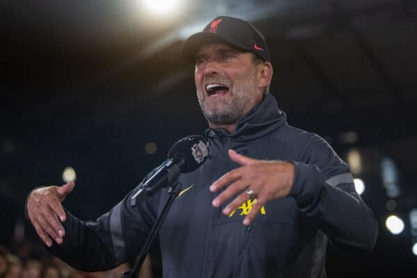 INNSBRUCK, AUSTRIA - Thursday, July 29, 2021: Liverpool's manager Jürgen Klopp speaks to LFC.TV after a pre-season friendly match between Liverpool FC and Hertha BSC at the Tivoli Stadion. (Pic by Jürgen Faichter/Propaganda)