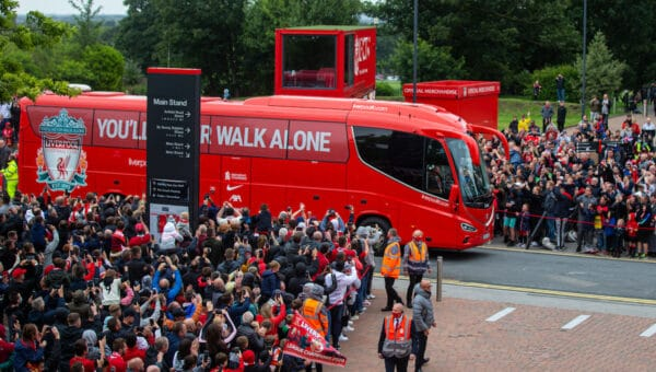 LIVERPOOL, ENGLAND - Sunday, August 8, 2021: The Liverpool team bus arrives before a pre-season friendly match between Liverpool FC and Athletic Club de Bilbao at Anfield. (Pic by David Rawcliffe/Propaganda)