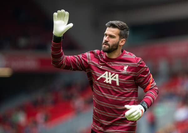 LIVERPOOL, ENGLAND - Sunday, August 8, 2021: Liverpool's goalkeeper Alisson Becker during the pre-match warm-up before a pre-season friendly match between Liverpool FC and Athletic Club de Bilbao at Anfield. (Pic by David Rawcliffe/Propaganda)
