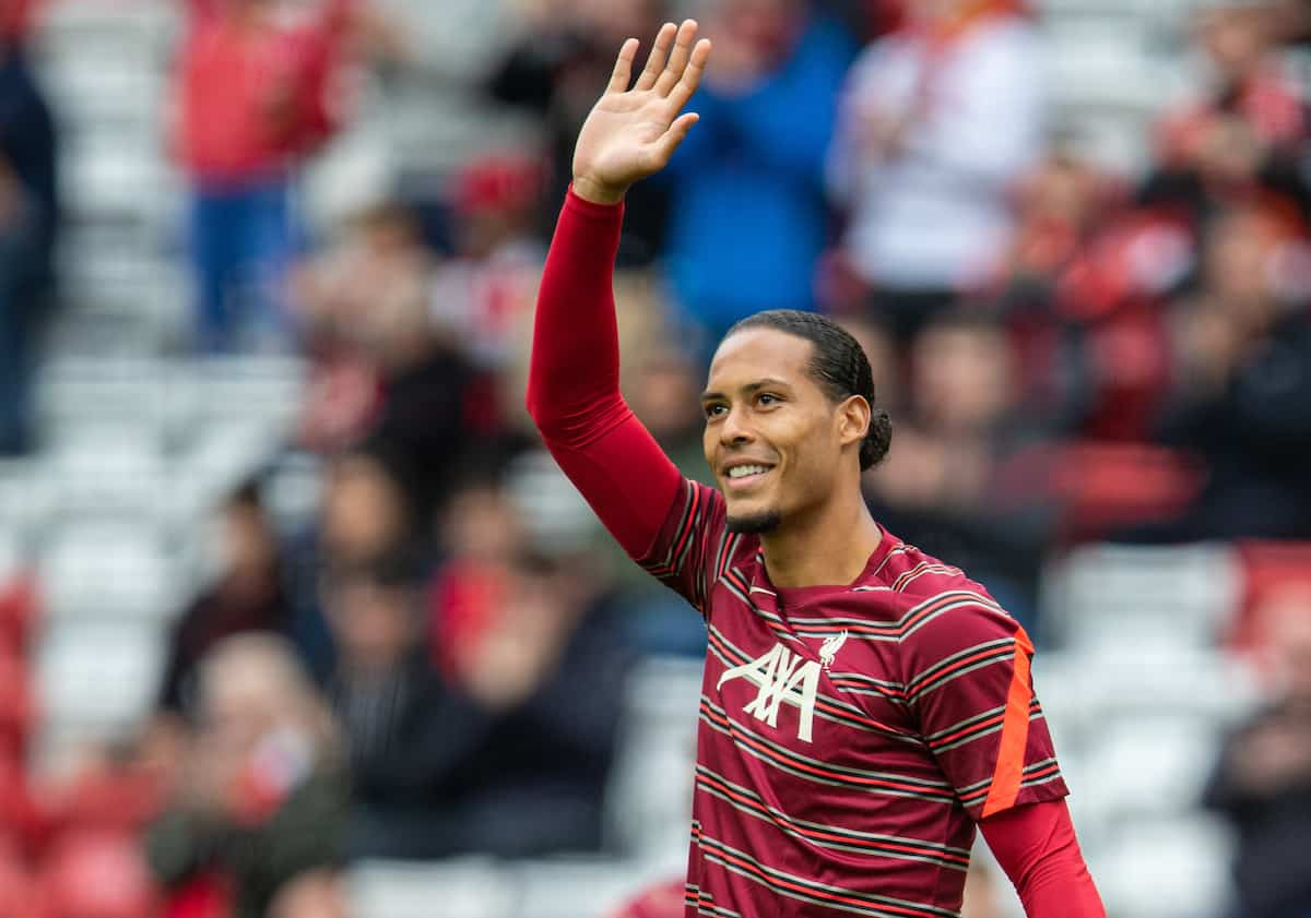 LIVERPOOL, ENGLAND - Sunday, August 8, 2021: Liverpool's Virgil van Dijk during the pre-match warm-up before a pre-season friendly match between Liverpool FC and Athletic Club de Bilbao at Anfield. (Pic by David Rawcliffe/Propaganda)