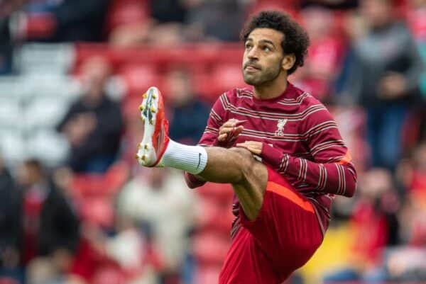 LIVERPOOL, ENGLAND - Sunday, August 8, 2021: Liverpool's Mohamed Salah during the pre-match warm-up before a pre-season friendly match between Liverpool FC and Athletic Club de Bilbao at Anfield. (Pic by David Rawcliffe/Propaganda)