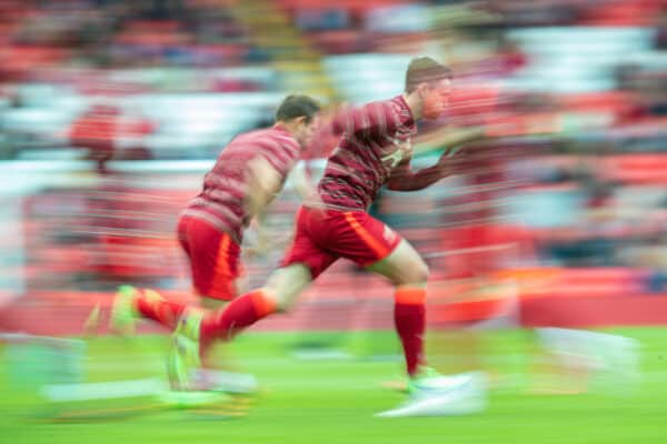 LIVERPOOL, ENGLAND - Sunday, August 8, 2021: Liverpool's Andy Robertson during the pre-match warm-up before a pre-season friendly match between Liverpool FC and Athletic Club de Bilbao at Anfield. (Pic by David Rawcliffe/Propaganda)