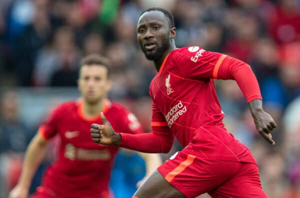 LIVERPOOL, ENGLAND - Sunday, August 8, 2021: Liverpool's Naby Keita during a pre-season friendly match between Liverpool FC and Athletic Club de Bilbao at Anfield. (Pic by David Rawcliffe/Propaganda)