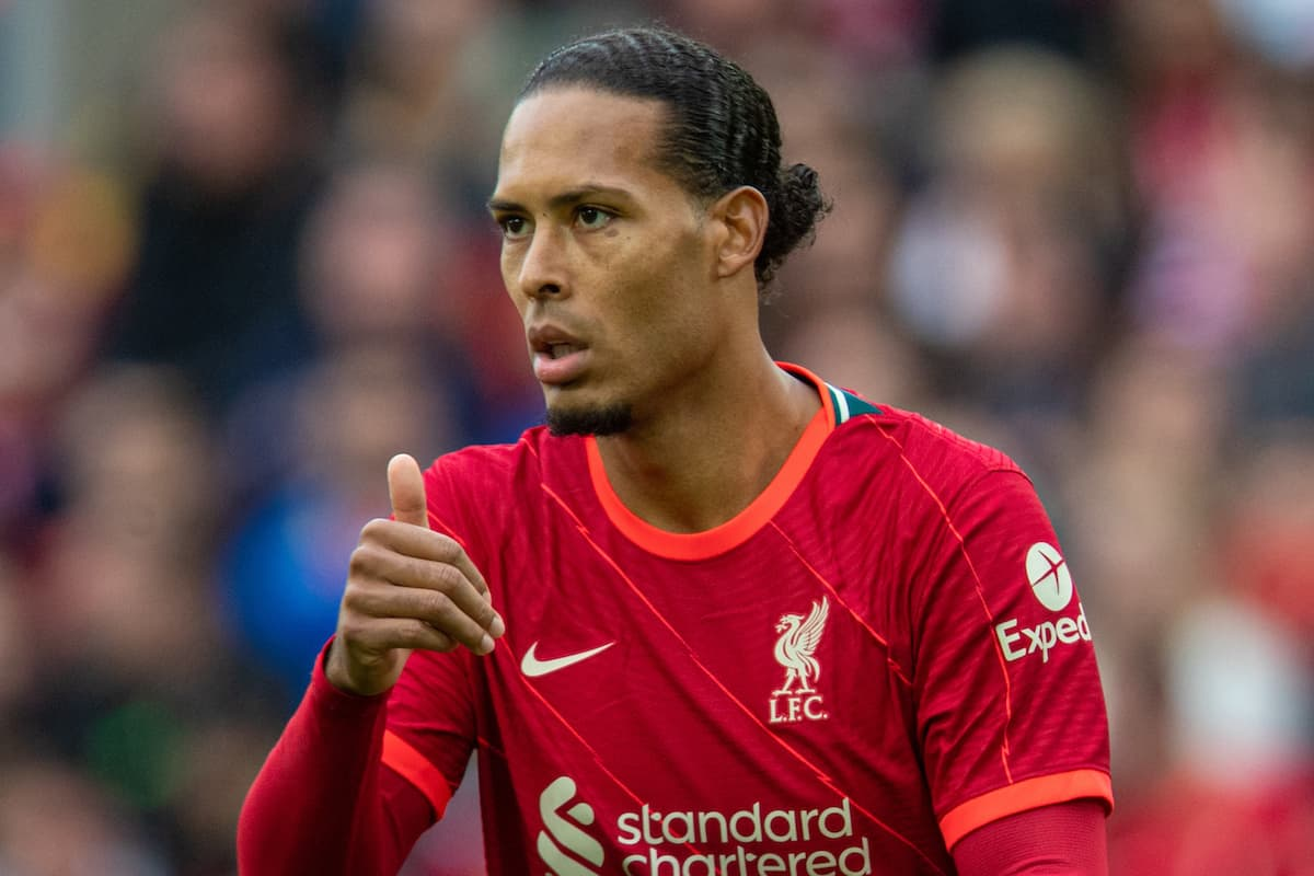 LIVERPOOL, ENGLAND - Sunday, August 8, 2021: Liverpool's Virgil van Dijk during a pre-season friendly match between Liverpool FC and Athletic Club de Bilbao at Anfield. (Pic by David Rawcliffe/Propaganda)